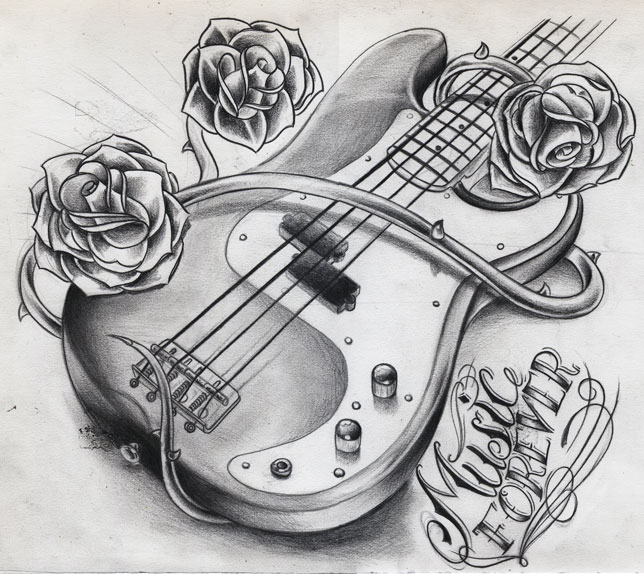 Guitar Tattoo Drawings