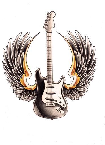 Tattoos Of Guitars. And guitars!